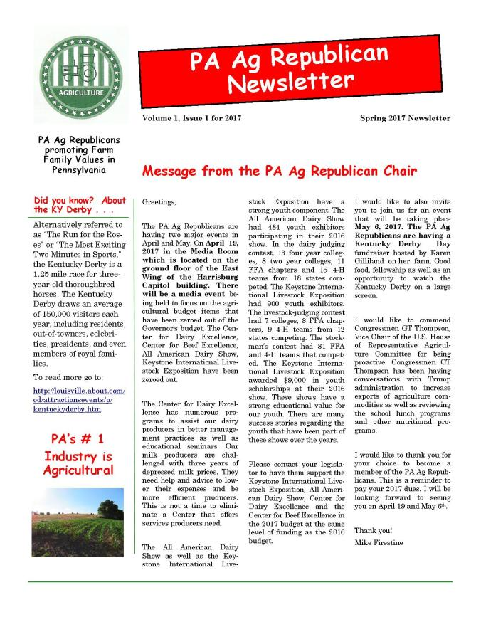 2017 (Spring) PA Ag Rep Newsletter