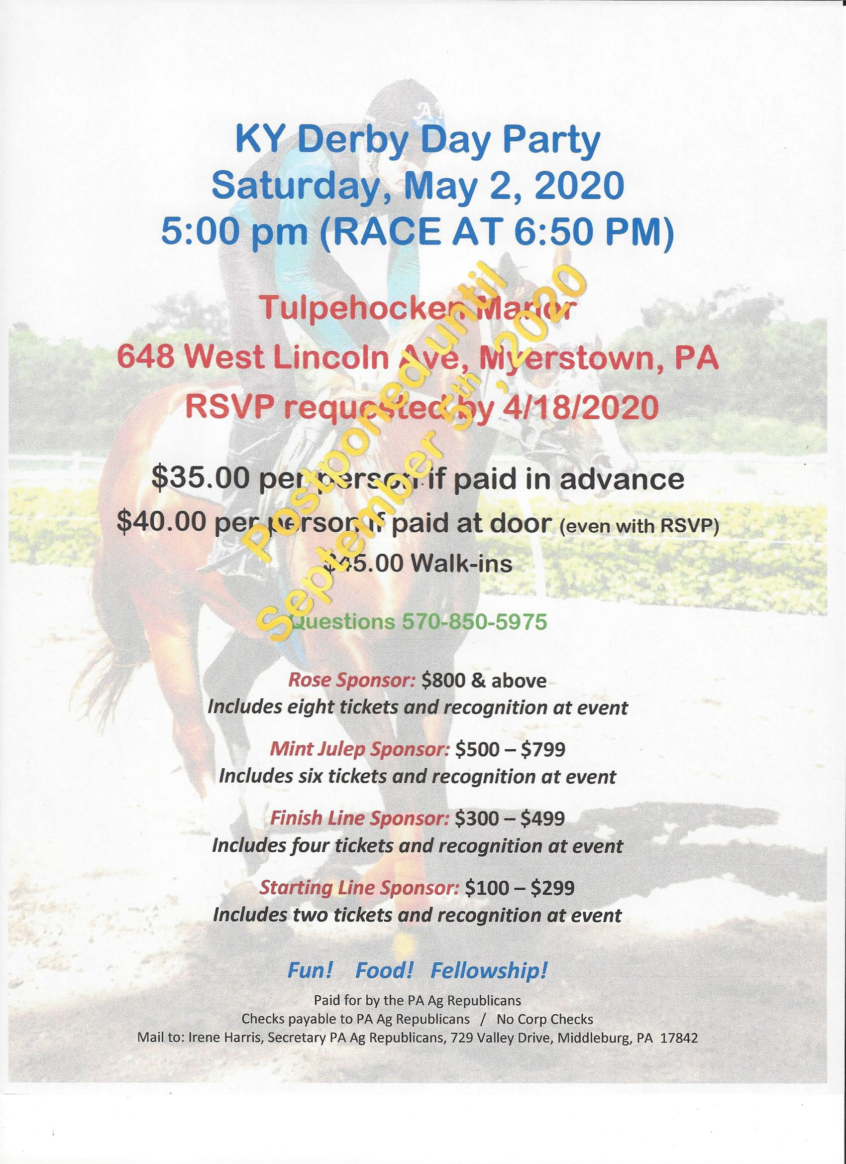 KY Derby Day Party Invite 2020 -postponed